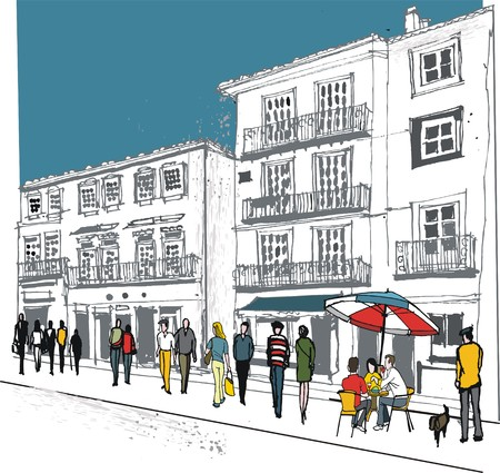 Vector illustration of old buildings and outdoor cafe in France. Illustration
