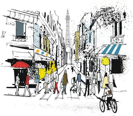 Vector illustration of Paris street with pedestrians Illustration