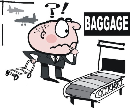 worried: Vector cartoon of upset business man searching for lost luggage