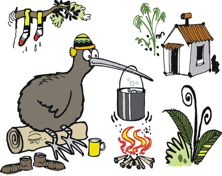 Vector cartoon of kiwi bird boiling billy can over camp fire