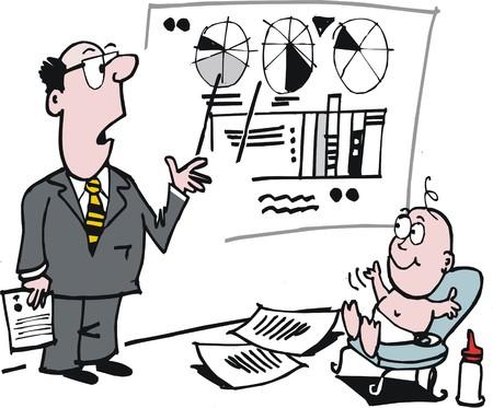 Vector cartoon of business man teaching finance to baby Illustration
