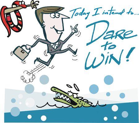 Vector cartoon of motivated business man daring to win Illustration