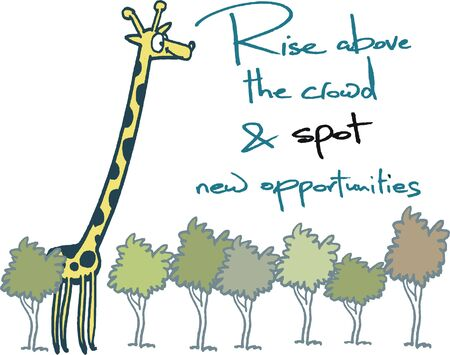 Vector cartoon showing giraffe looking over treetops.
