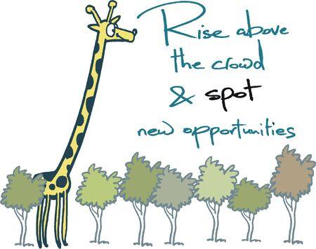 Vector cartoon showing giraffe looking over treetops.