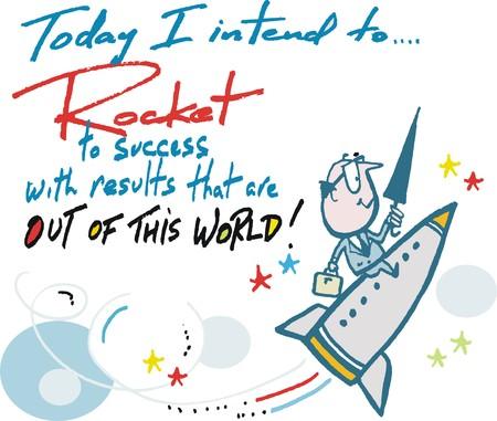 Success cartoon showing man on rocket. Illustration