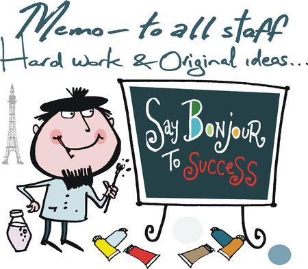 Motivational cartoon showing artist working hard
