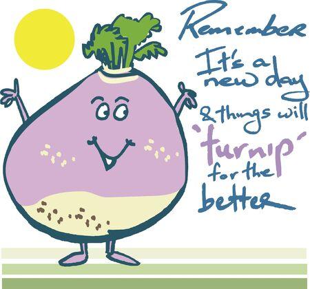 Motivational cartoon featuring cheerful turnip Illustration