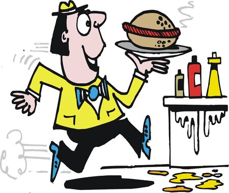 Happy man running with hamburger cartoon
