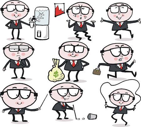 Funny business man cartoon group