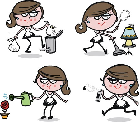 Busy housewife cartoon showing domestic chores Illustration