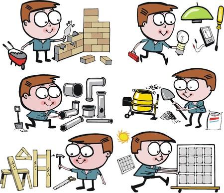 Cartoon vector group of funny tradesmen Illustration