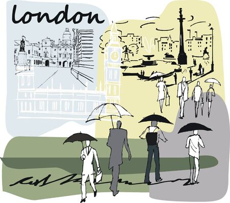 Vector illustration of people and buildings, London England Illustration