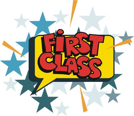 Cartoon lettering First Class in pop art style Illustration