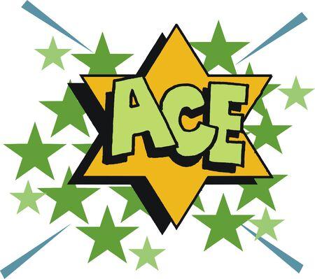 Cartoon lettering ACE on star background pop art style