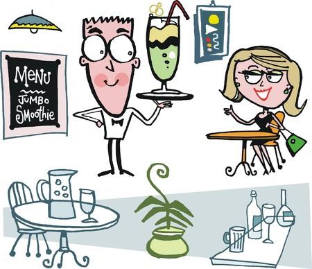 Vector cartoon of smiling waiter in restaurant