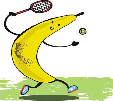 Funny banana cartoon tennis player