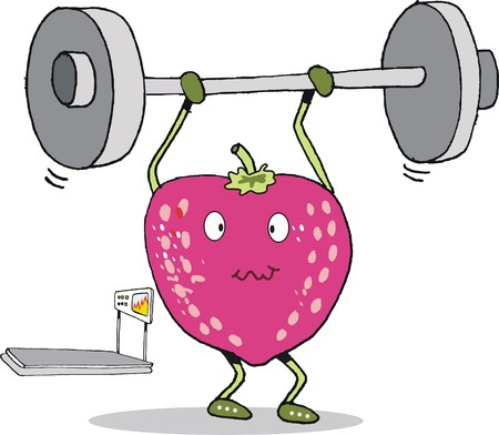 Cartoon of strawberry fruit lifting weights
