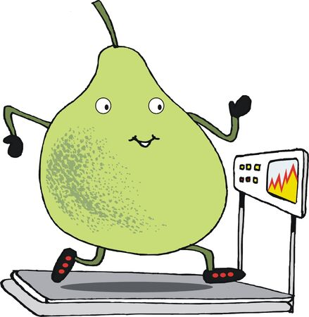 Cartoon of large pear working out on treadmill Illustration