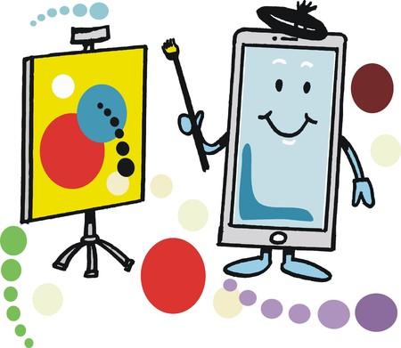 Vector cartoon of happy smart phone with art easel