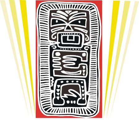 Vector illustration of native carving and stripes