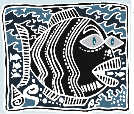 Black and white line drawing of tropical fish.