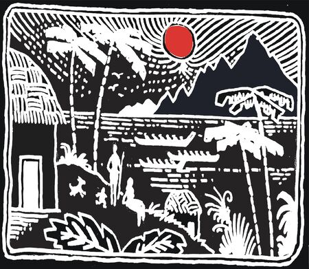 Black and white illustration of native village in South seas.