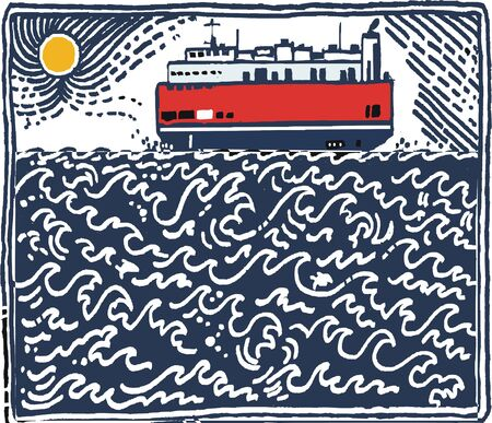 Illustration of vehicle carrier vessel on choppy waves