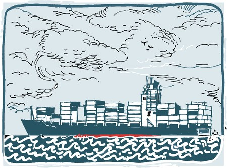 Illustration of container vessel on rough sea