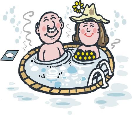 Cartoon showing happy elderly couple enjoying spa bath.