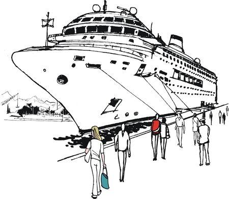 Pen and ink illustration of large cruise liner moored at port Illustration