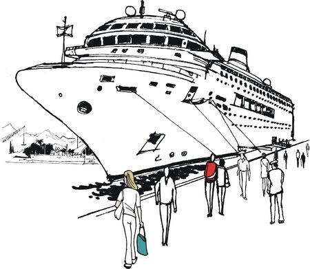 Pen and ink illustration of large cruise liner moored at port Illustration