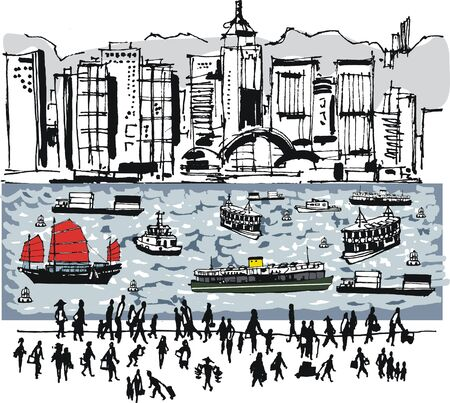 Vector illustration of Hong Kong harbour with boats, people and buildings Illustration