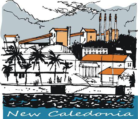 Vector illustration of nickel mining buildings, Noumea New Caledonia.