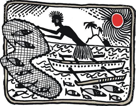 Illustration of native casting net from outrigger canoe Illustration