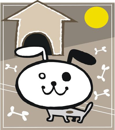 Happy dog cartoon with bones in front of kennel.