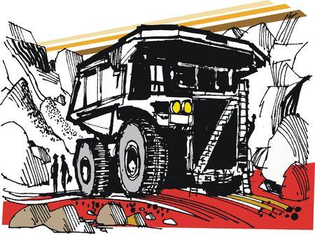 Vector sketch of mining dump truck Illustration