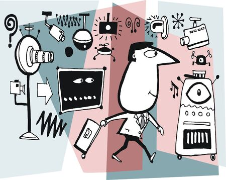 Vector cartoon of man with suitcase and surveillance cameras