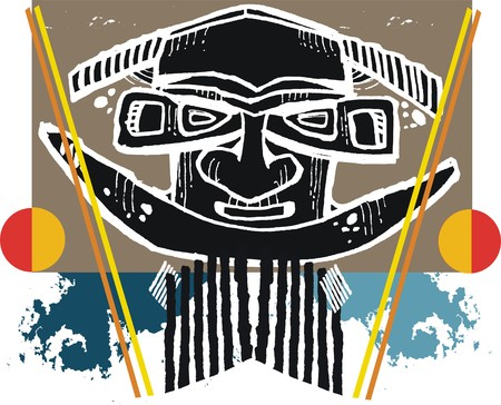 Abstract vector artwork of native carving with spears.