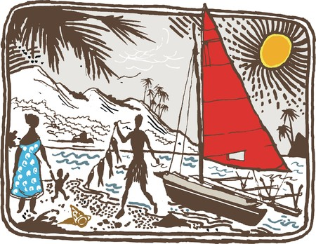 Vector illustration of tropical island scene with natives and sailboat Illustration