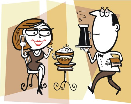 Vector cartoon of man serving coffee to woman customer