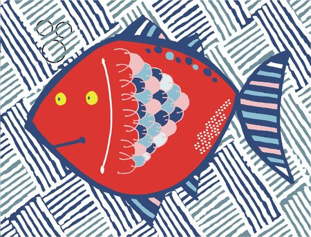 Vector illustration of red tropical fish with textured background.