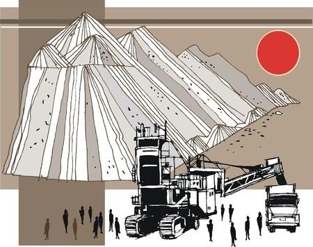 Vector illustration of mining machinery loading trucks Illustration