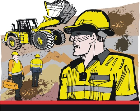 Illustration of mining workers with excavator dump truck in background
