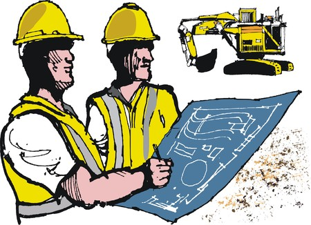 Miners wearing helmets with blueprint illustration