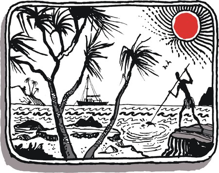 Vector illustration of native using spear to fish from rocks, Vanuatu, South Pacific