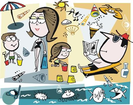Vector cartoon of family enjoying day at beach Illustration