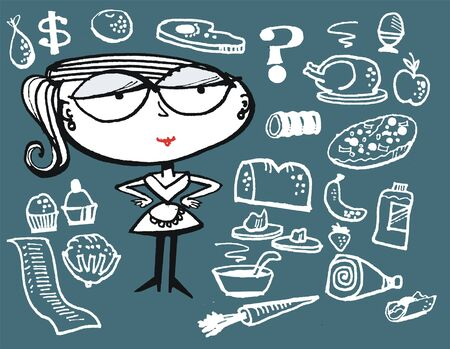Vector cartoon of woman with shopping list and food items Illustration