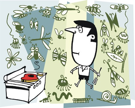 Cartoon illustration of man, barbecue and different kind of insects