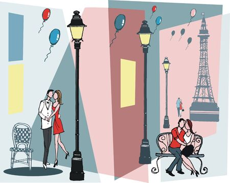 Vector illustration of romantic couples with Paris France background