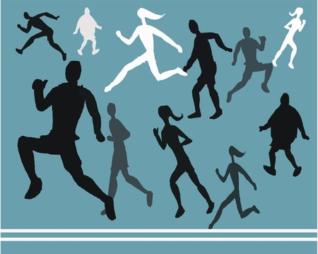 Vector illustration showing silhouettes of running people